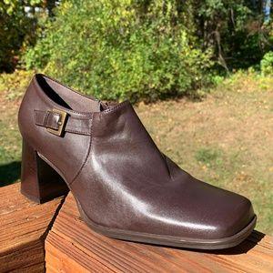Brown Leather Chunky Block Heel Mules Clogs Boho